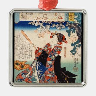 Classic vintage ukiyo-e old scroll geisha Utagawa Metal Ornament