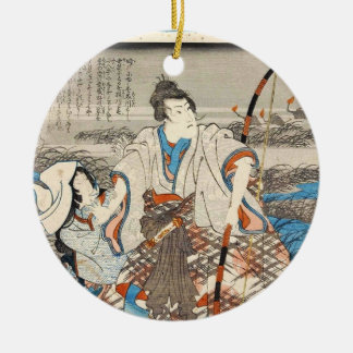 Classic vintage ukiyo-e samurai and lady Utagawa Round Ceramic Ornament