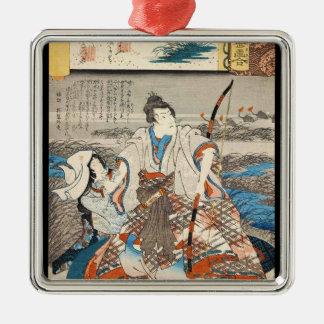 Classic vintage ukiyo-e samurai and lady Utagawa Silver-Colored Square Ornament