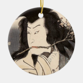 Classic vintage ukiyo-e samurai portrait Utagawa Round Ceramic Ornament