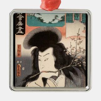 Classic vintage ukiyo-e samurai portrait Utagawa Silver-Colored Square Ornament