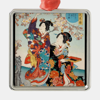 Classic vintage ukiyo-e two geishas Utagawa art Metal Ornament