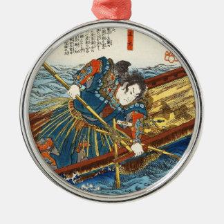 Classic vintage ukiyo-e Utagawa samurai on boat Silver-Colored Round Ornament