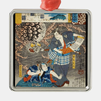 Classic vintage ukiyo-e Utagawa samurais art Silver-Colored Square Ornament