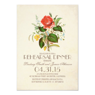 """classic vintage watercolor flower rehearsal dinner 5"""" x 7"""" invitation card"""