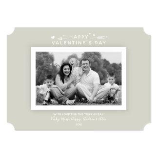 Classic Warm Gray/Beige Valentine's Family Photo Card