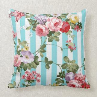 Classic Watercolor Antique Blue Stripe Throw Pillow