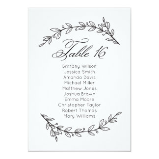 Classic wedding seating chart. Table plan 16 Card