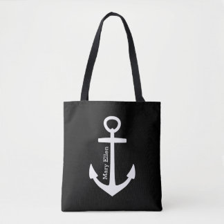 Classic White Anchor on Black Personalized Tote Bag