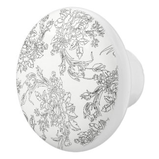 Classic White and Black Floral Toile Ceramic Knob