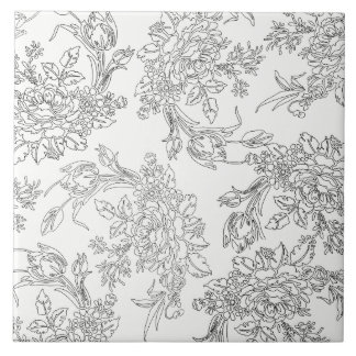 Classic White and Black Floral Toile Tile