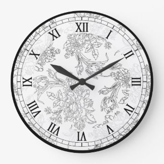 Classic White and Black Floral Toile Wall Clock