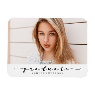 Classic White and Black Graduation Photo Magnet