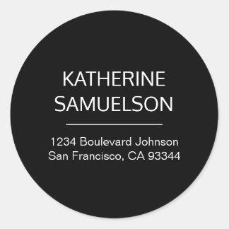 Classic White Black Name & Return Address Classic Round Sticker