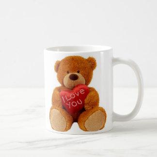 "Classic white mug showing teddy bear ""I LOVE YOU""."