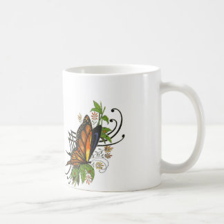 Classic white mug with a butterfly