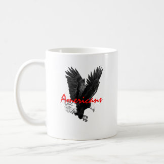 Classic White Mug with American Eagle Drawing