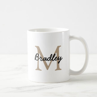 Classic White Mug with Brown Tan Monogram
