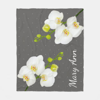 Classic White Orchid Flowers & Grey With Name Fleece Blanket