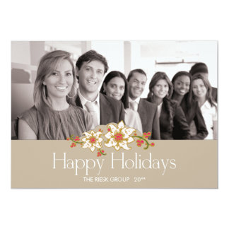 Classic White Poinsettia Corporate Holiday Card