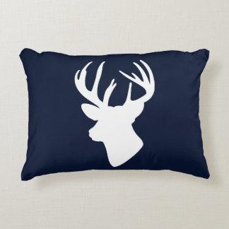 Classic White Reindeer Silhouette Custom Navy Blue Decorative Pillow