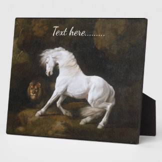 Classic White Stallion and Lion Plaque