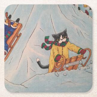 Classic Winter Sledging Square Paper Coaster