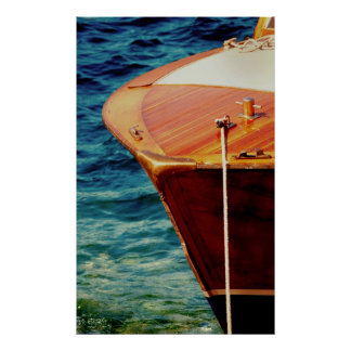 Classic wooden speed boat bow poster