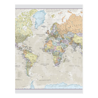 Classic World Map Postcard