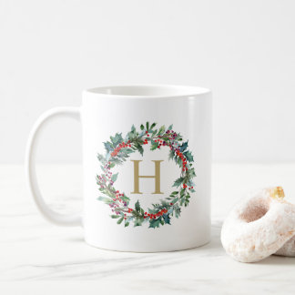 Classic Wreath Holiday Monogram Coffee Mug