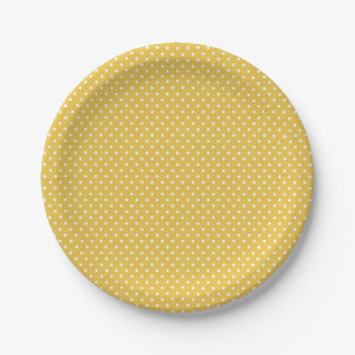 Classic Yellow Gold and White Polka Dot Plates