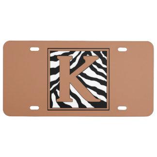 Classic Zebra  Monogram K Pattern License Plate