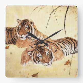 Classical Chinese style art, Reclining tigers Clock