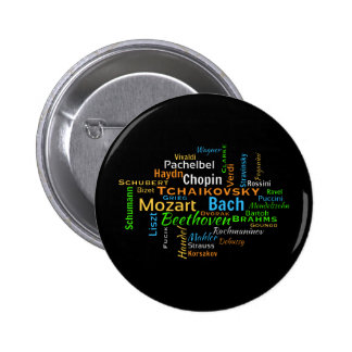 Classical Composers Word Cloud Pinback Button