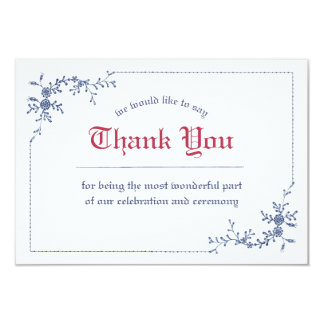 Classical Embroidery Royal Wedding Thank You Card