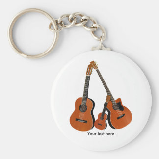 Classical Guitar Acoustic Bass and Ukulele Keychain