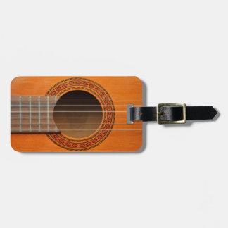 Classical guitar orange tan luggage tag