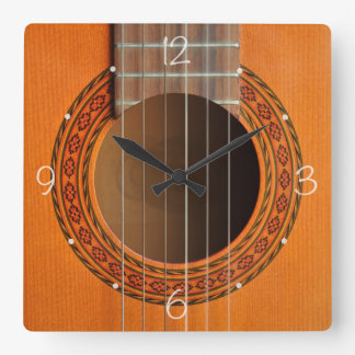 Classical guitar orange tan square wall clock