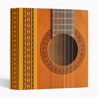 Classical guitar with red and green inlay binder