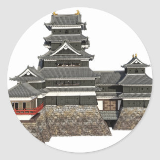 Classical Japanese Castle Round Sticker