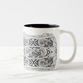 Classical Large monochromatic scroll and leaf mug! Two-Tone Coffee Mug