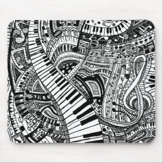 Classical music doodle with piano keyboard mouse pad