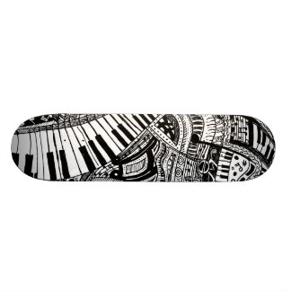 Classical music doodle with piano keyboard skate board