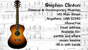 Classical Musician Guitarist Business Card