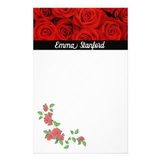 Classical Red Roses Stationery