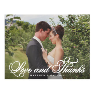 Classical Thank You Wedding Overlay Postcard