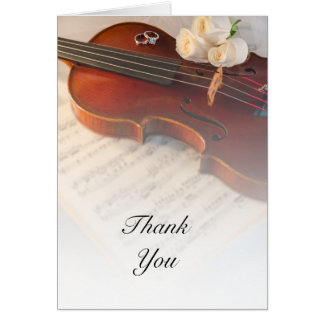Classical Violin and White Roses Wedding Thank You Card
