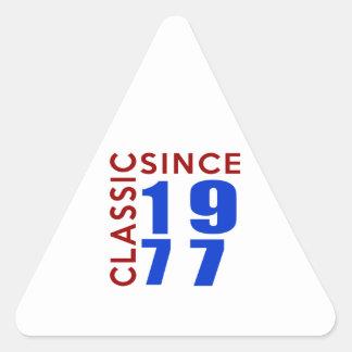 Classice Since 1977 Birthday Designs Triangle Sticker