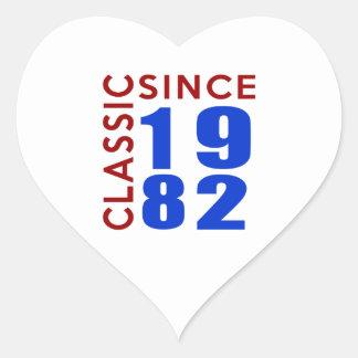 Classice Since 1982 Birthday Designs Heart Sticker