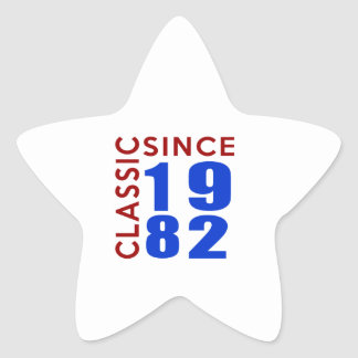 Classice Since 1982 Birthday Designs Star Sticker